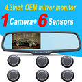 visible car parking sensor system 6sensors with back up Camera with bracket Car  interior Mirror monitor 4.3inch for toyota KIA