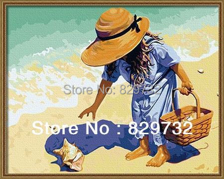 JIUJIU DIY digital oil painting Free shipping the picture unique gift acrylic paint 40X50cm Clamming paint by number