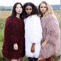Milan 2017 Toda Mongolia Ovejas Abrigos de Piel Para Las Mujeres de 100 CM de Largo famoso Wam chaqueta Genuina Piel del cordero de Piel de oveja Abrigo abrigos mujer