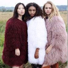 milan 2017 Whole Mongolia Sheep Fur Coats For Women's 100CM Long famous Genuine lamb Fur jacket Wam sheep Fur Coat abrigos mujer