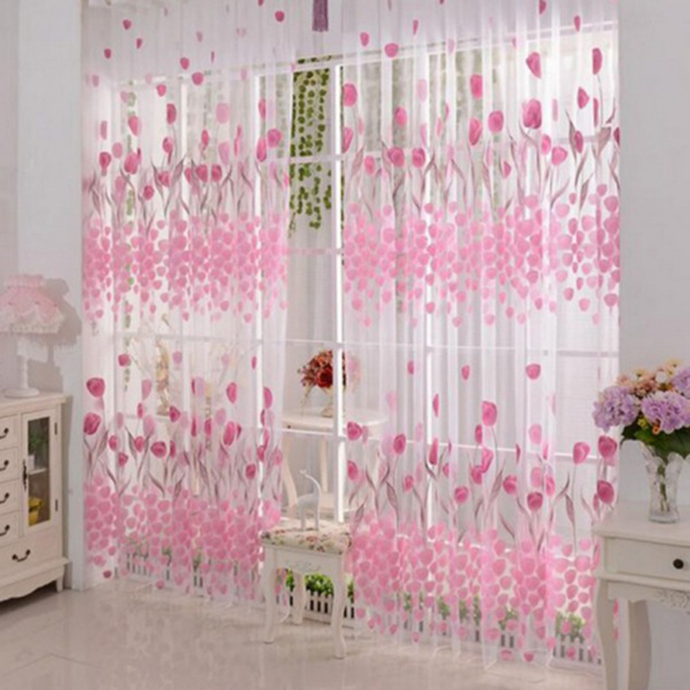 Free Shipping Tulip Printed Tulle Voile Door Window Curtain For Living Room Sheer Drape Panel 200
