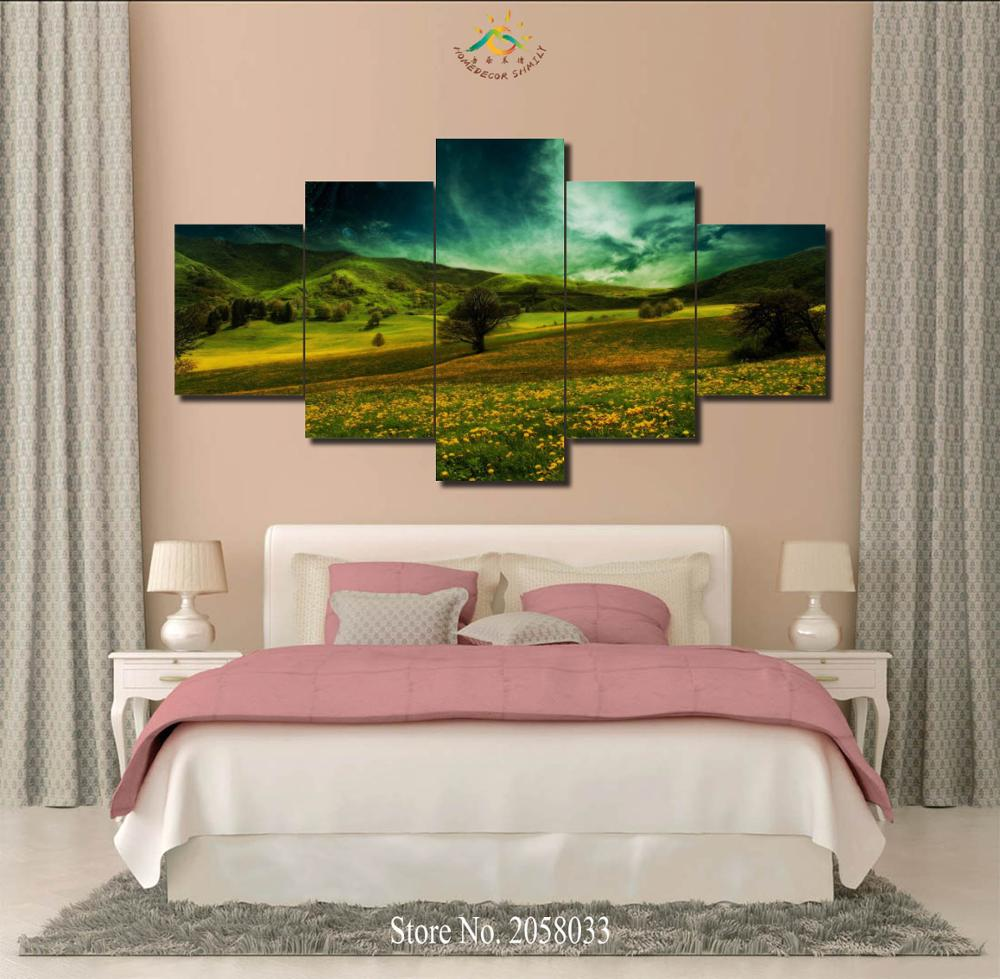 3-4-5 Pieces Flowers Fields Modern Wall Art Pictures HD Printed Canvas Painting Modular Pictures HD Paints Home Decoration