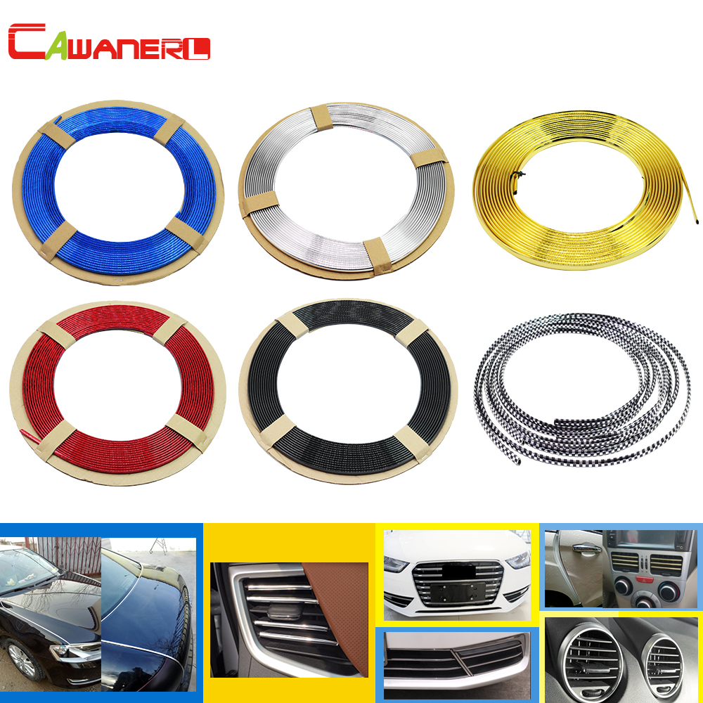 Cawanerl Car Styling Chrome Trim Door Bumper Grille Air Conditioner Outlet Vent Decoration Strip Red Blue Golden Silver Black