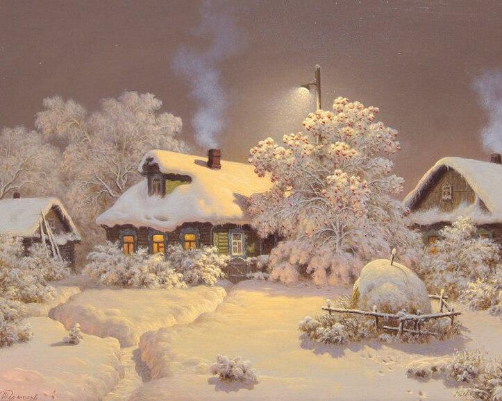 A1179 Decoración del hogar Mosaico 3DIY Snow Cottage 100% Resina - Artes, artesanía y costura