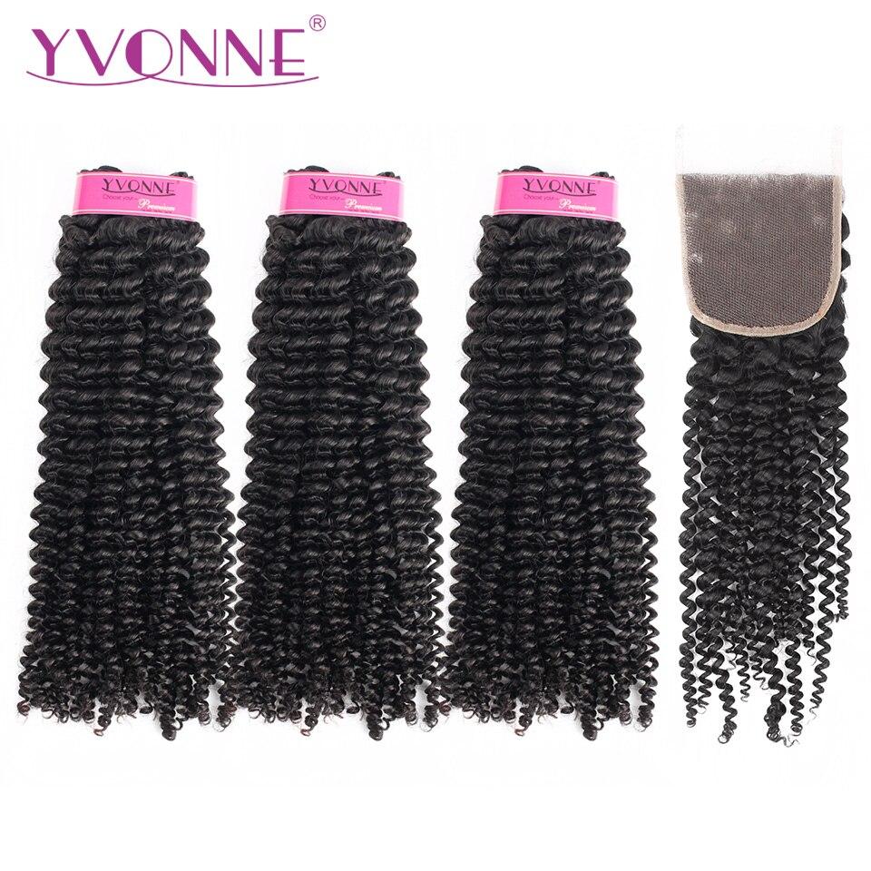 Yvonne Kinky Curly Virgin Human Bundles Cabelo Com Encerramento 3 Pcs Cor Natural Do Cabelo Brasileiro Weave Bundles Com Fechamento 4x4