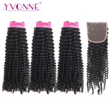 Yvonne Kinky Curly Virgin Human Hair Bundlar Med Stängning 3st Natural Color Brazilian Hair Weave Bundlar Med Stängning 4x4