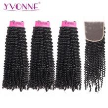 Yvonne crespo encaracolado virgem feixes de cabelo humano com fecho 3 pcs cor natural pacotes tecer cabelo brasileiro com fecho 4x4