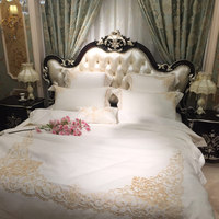 White Embroidery Luxury Royal Bed set King Queen size 4/6Pcs Egypt Cotton Hotel Bedding set Duvet cover Bed sheet set