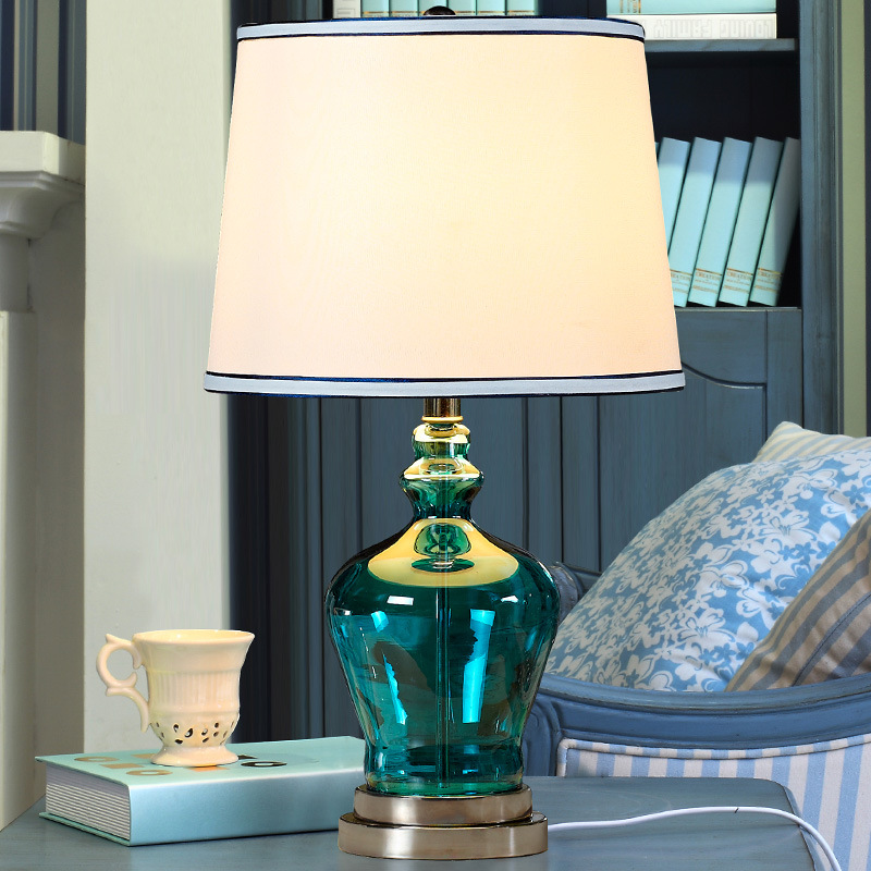 Tuda Free Shipping Blue glass Table Lamp Modern Minimalist Table Lamp For Bedroom Blue Vase Table Lamp in LED Table Lamps from Lights Lighting