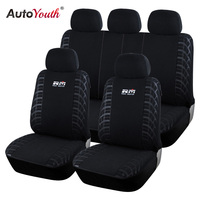 AUTOYOUTH 100% Looped Fabric Car Seat Covers Universal Fit Most Cars SUV Vehicles Seat Cover Black Car Seat Protector