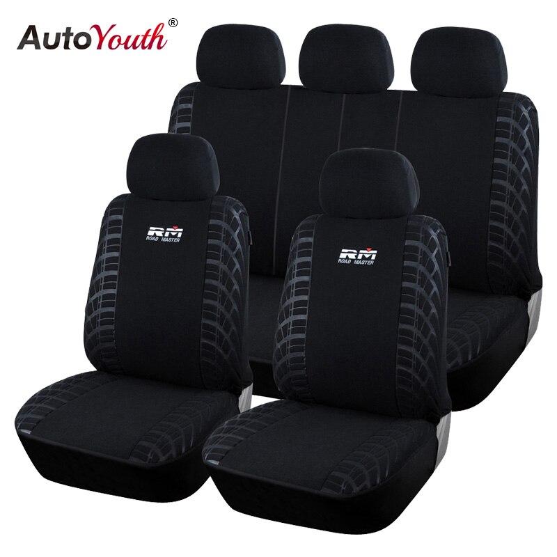AUTOYOUTH 100% Polgewebe Autositzbezüge Universal Fit Meisten Autos SUV Fahrzeuge Sitzbezug Schwarz Auto Seat Protector