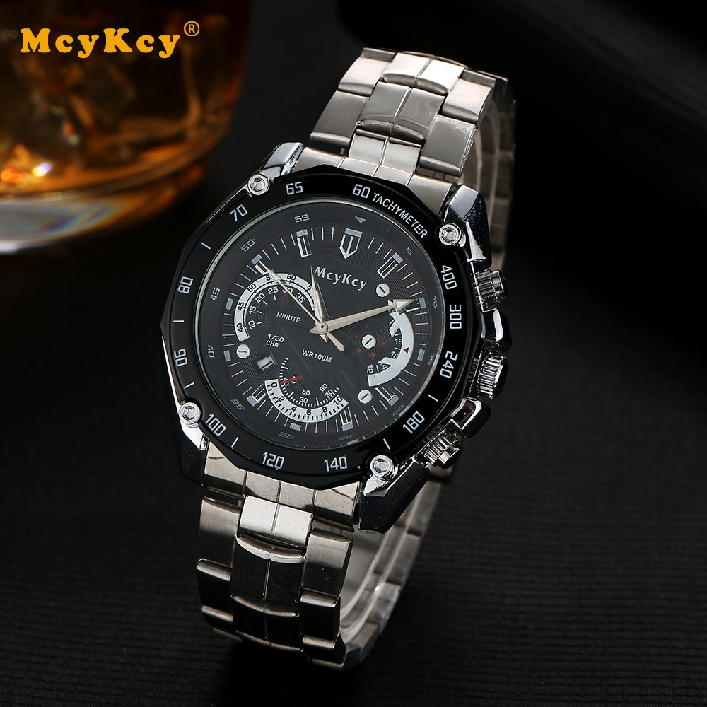 Mcykcy Brand Fashion Silver Men Watch Casual Business Luxury Stainless Steel Strap Sport Wristwatch Mens Brands Hand Watches mcykcy brand men luxury stainless steel watch silver business quartz wristwatch fashion casual relogio dress watches clock my039