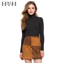 HYH HAOYIHUI New Fashion Spring Sweater 2017 Women Cloth High Neckline Solid Black Pullover Knit Long Sleeve Slim Casual Sweater цена