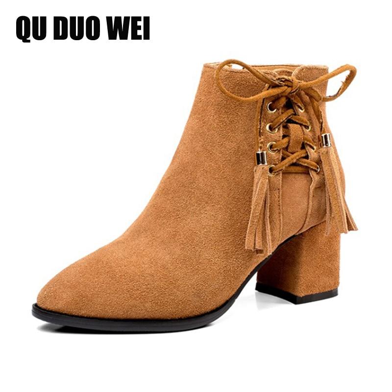 QUDUOWEI Fashion Tassel Shoes Nubuck Leather Boots Women Autumn Winter Short Boots Square Heels Fringe Ankle Boots Plus Size
