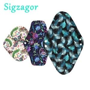 Image 1 - [Sigzagor]XS S M L XL Cloth Menstrual Pad Mama Cloth Sanitary Bamboo Charcoal Reusable Washable Panty Liner Regular Overnight