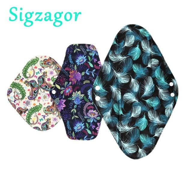[Sigzagor]XS S M L XL Cloth Menstrual Pad Mama Cloth Sanitary Bamboo Charcoal Reusable Washable Panty Liner Regular Overnight