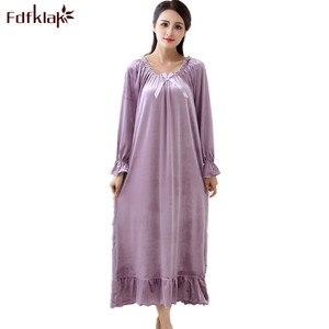 Image 1 - Fdfklak robe de nuit longue en velours pour femme, tenue de nuit en velours, grande taille, printemps automne, nouvelle collection pyjama pour femmes robe de nuit Q1468