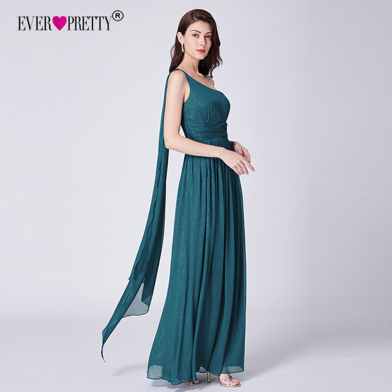 Teal   Prom     Dresses   Long Ever Pretty Elegant A-line Chiffon One-shoulder Sleeveless A-line Cheap Backless Maxi Sexy Robe De Soiree