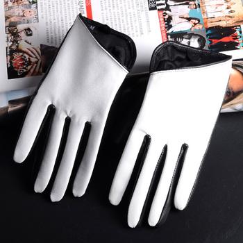 Nowe damskie damskie prawdziwe skórzane białe rękawiczki dotykowe krótkie rękawiczki tanie i dobre opinie FINILUO Kobiety Prawdziwej skóry Dla dorosłych Patchwork Nadgarstek Nowość 10161129