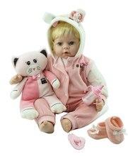 Npk 50cm bebês reborn boneca bonito silicone lifelike bebê boneca para o presente de aniversário da menina do bebê bonecas casa plamates