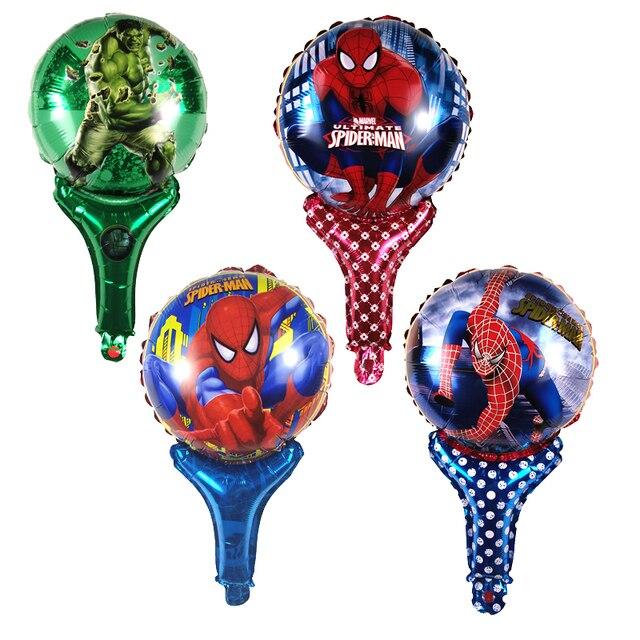 NOVA 1 pcs Handheld Vara Dos Desenhos Animados Hulk & Spiderman Foil Birthday Party Balloons Balões Balões De Casamento Decoração Toy Crianças