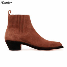 Yomior 2019 Handmade Vintage Men Real Leather Shoes Gentleman Dress Pointed Toe Ankle Boots Slip-On Wedding Chelsea Boot
