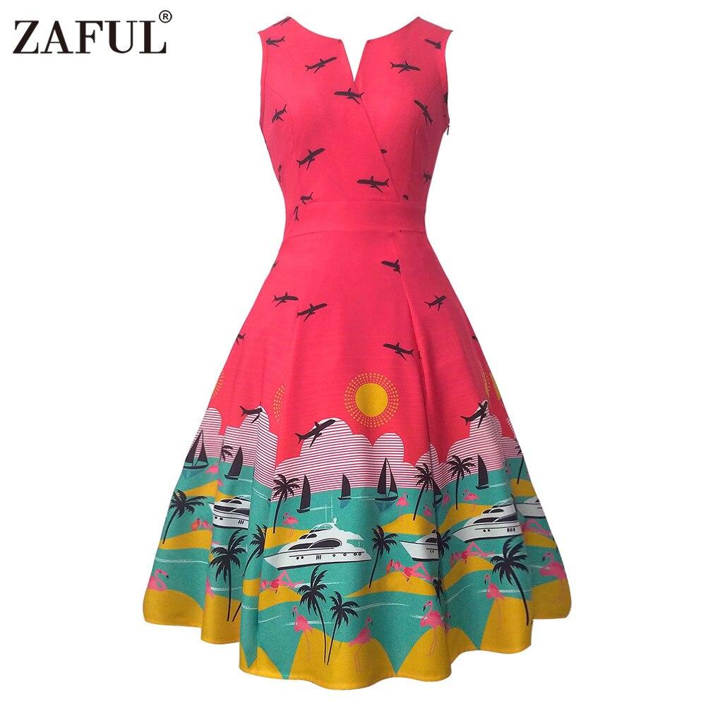 US $25.98 |Frauen Landschaft und Flamingo Druck Frauen Kleid Vintage Rockabilly Robe Retro 50 s 60 s A linie kleider feminino vestidos de fiesta in