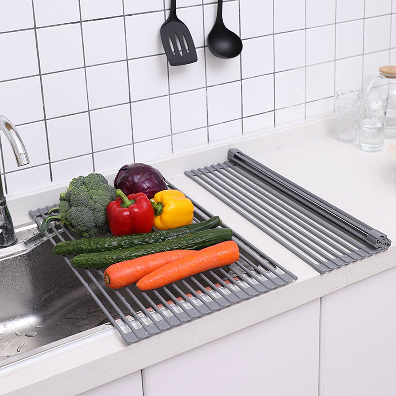 stainless steel Sink Storage Dish Drying Rack Holder Fruit Vegetable Drainer Colanders Insulation Tool Storage Foldable