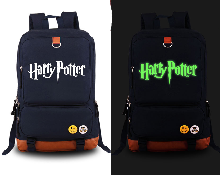 ecoparty  Harry Potter Backpack Anime Canvas Student Luminous Schoolbag Unisex Travel Bags anime death note cosplay anime backpack male and female student bag travel backpack