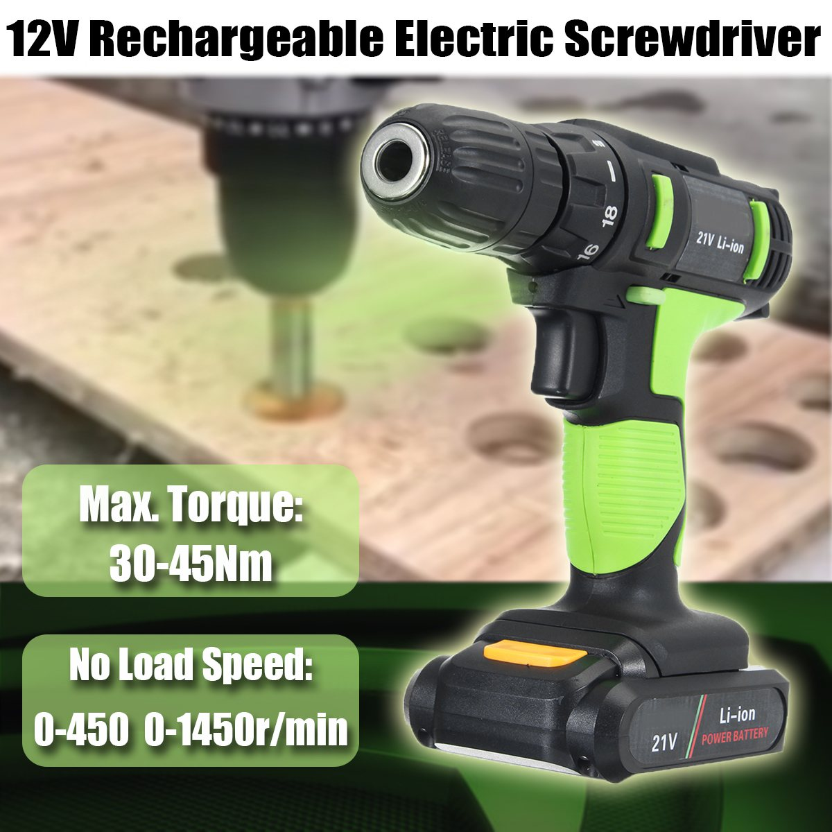 цена на 21V Electric Screwdriver Battery Screwdriver Wireless Drill Power Tools Professional Electric Torque Screwdriver + 2 Batteries
