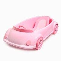 Pink cute car shape baby tub newborn can sit lie universal baby tub child child bathtub large thickening bath basin 2019 nwe