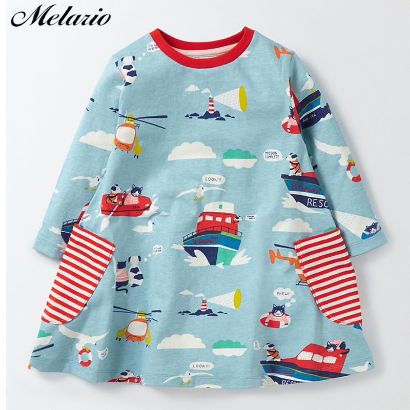 Melario Girls dress 2016 New arrive European and American Style Boat Printing Brand Baby girls dress Autumn Kids Clothes 100% real photo brand kids red heart sleeve dress american and european style hollow girls clothes baby girl clothes