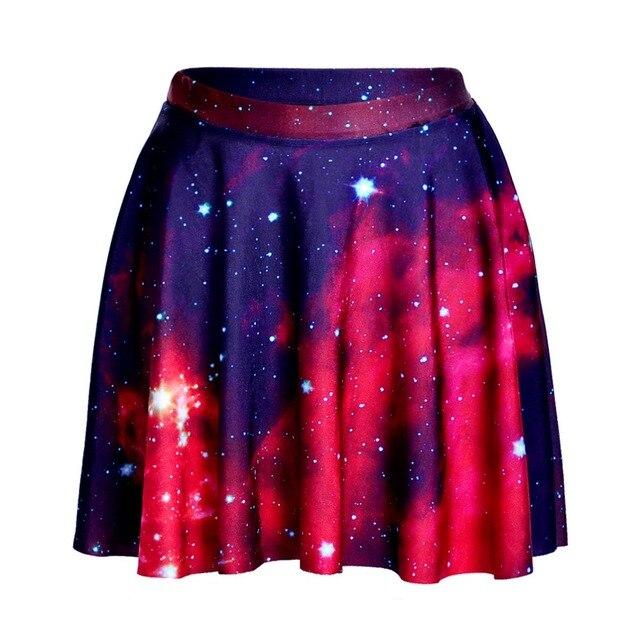 09ea3293a € 6.63 24% de DESCUENTO|Falda casual plisada de cintura alta galaxia roja  por encima de la rodilla Faldas de moda para Mujer Faldas Saia 4XL talla ...