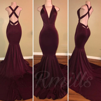 Satsweety 2018 New Sexy Burgundy Mermaid Bridesmaid Dresses Long Pageant Party Wear Prom Gowns Cheap High End Red Carpet Gown