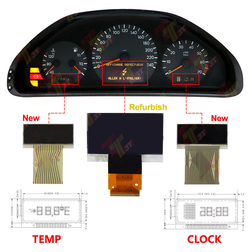 3pcs For Mercedes W210 E320 E430 Vdo Instrument Middle Right Left Tachometer Wiring Diagram 1 Min Display Benz 1996