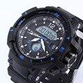 2016 Homem Dos Homens Dual Time De Quartzo-Relógio de Quartzo Digital Sports Relógios Homens IGUAIS S Choque Militar Do Exército Reloj Hombre LED Relógios de Pulso