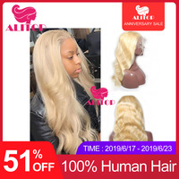 ALITOP предварительно сорвал полный кружево человеческие волосы парики 613 волнистые волосы парик Омбре блонд цветные парики бразильские воло