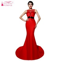 Mermaid Beads Neckline Long Red Satin Formal Lady Evening Dresses With Lace Sheer Back Sexy Prom Gown