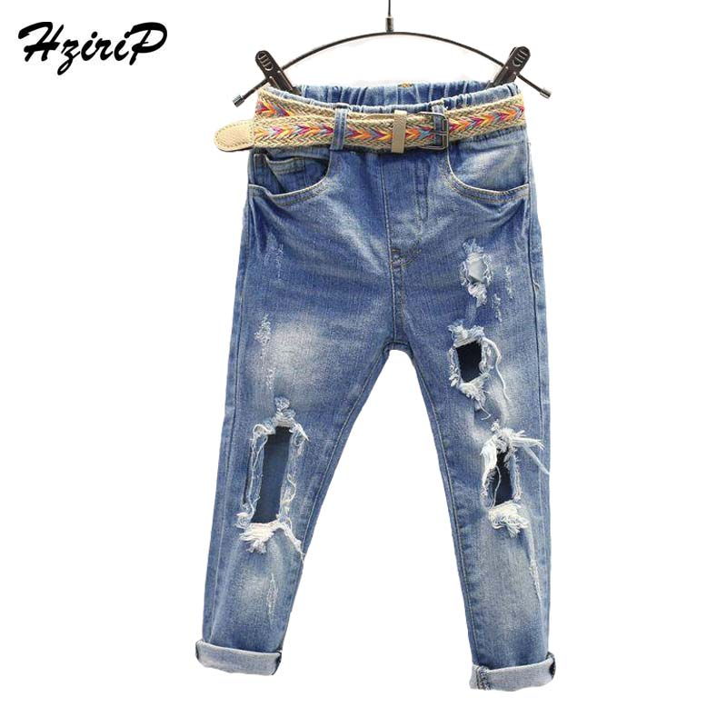 HziriP Retail 2017 New Fashion Children Jeans Spring Autumn Leisure Ripped Jeans Kids Denim Pants Destroyed Girls Boys Trousers women pants jeans destroyed ripped distressed hole woman skinny slim trousers blue high waist slim denim pants boyfriend jeans