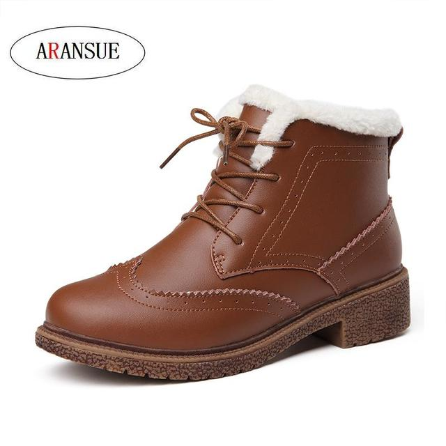ARANSUE Autumn and winter women velvet shoes cow leather Brooker shoes cotton padded bottine england style retro Martin boots