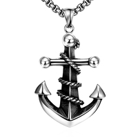 New Fashion Silver Plated Charm Cool Men Rock Long Necklaces Pendants Male Anchor With Rope Accessories