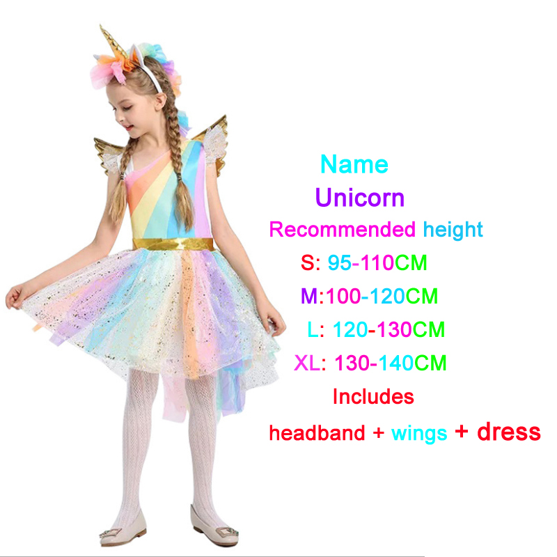 For Girls Party Dress Unicorn Rainbow With Headband Halloween Christmas Cosplay Costume Kids 2019 Summer Dress Evening Dress
