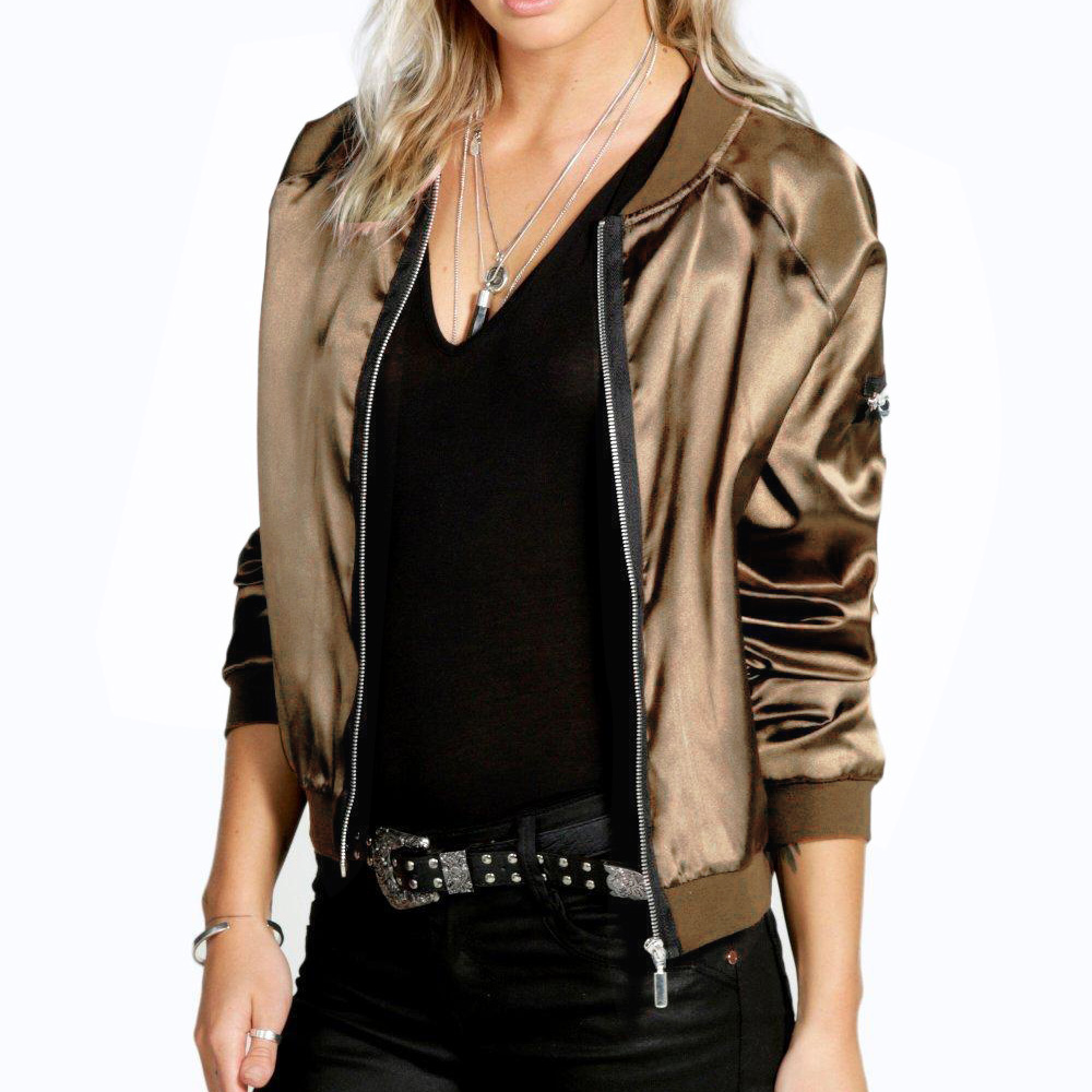 Fashion Sexy Black Golden Zipper Satin Bomber Jacket Women Basic