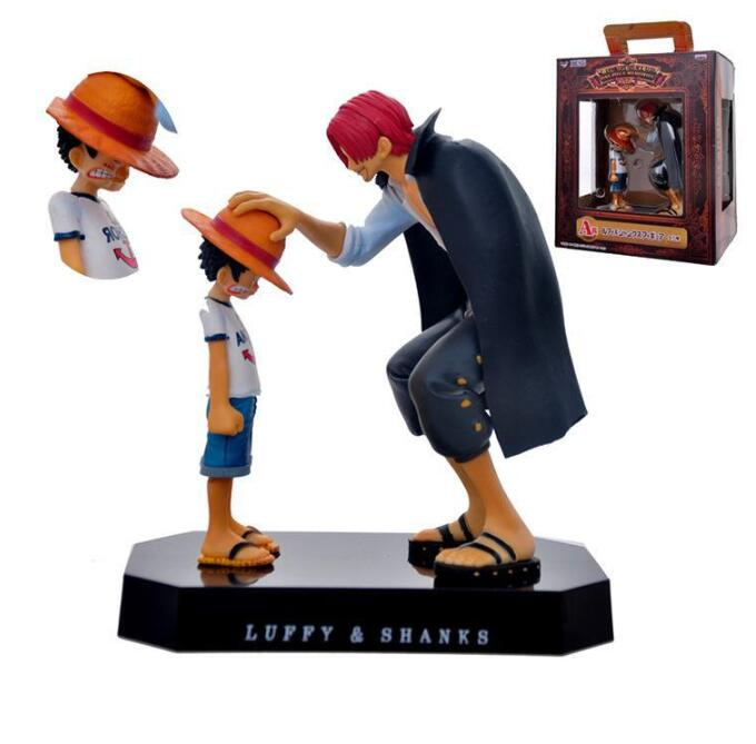 One Piece action figures Anime Straw Hat Luffy Shanks red hair ornaments gift doll toys 17cm child luffy models pvc collection