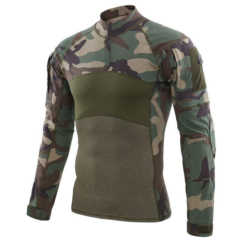 Hommes Camouflage tactique Combat T-Shirt hommes coton uniforme militaire T-Shirt Multicam armée Camo à manches longues Airsoft chasse T-Shirts