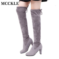 MCCKLE Female Winter Thigh High Boots Women Faux Suede Leather High Heels Over The Knee Botas