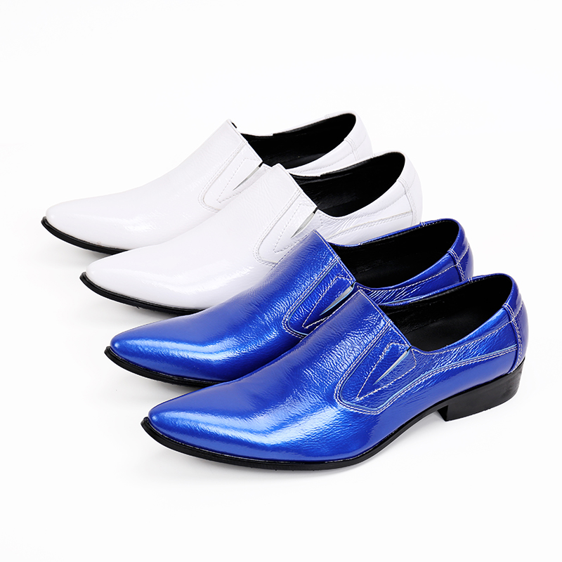 Akamatsu classic style mens pointed toe dress shoes genuine leather blue spiked loafers men slip on high heels bar shoe lasts classic style classic mens dress shoes deep coffee color genuine leather oxford shoes for men lace up pointy loafers high heels