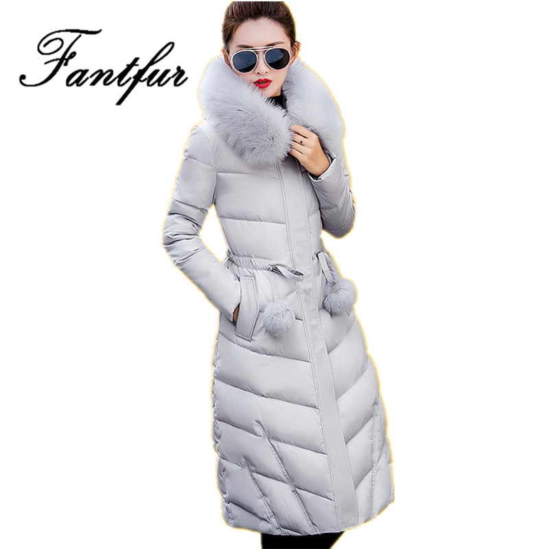 2017 Long Winter Jackets Women Winter Coats Fur Hood Female Down Park Cotton Padded Parka Ladies Overcoat Thick Outwear