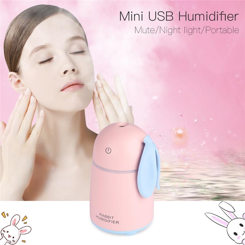 цена Mini USB Rabbit Air Humidifier Mute Silent Mist Maker Diffuser Colorful Changing LED Night Light For Home Office Car Travel 3233 в интернет-магазинах