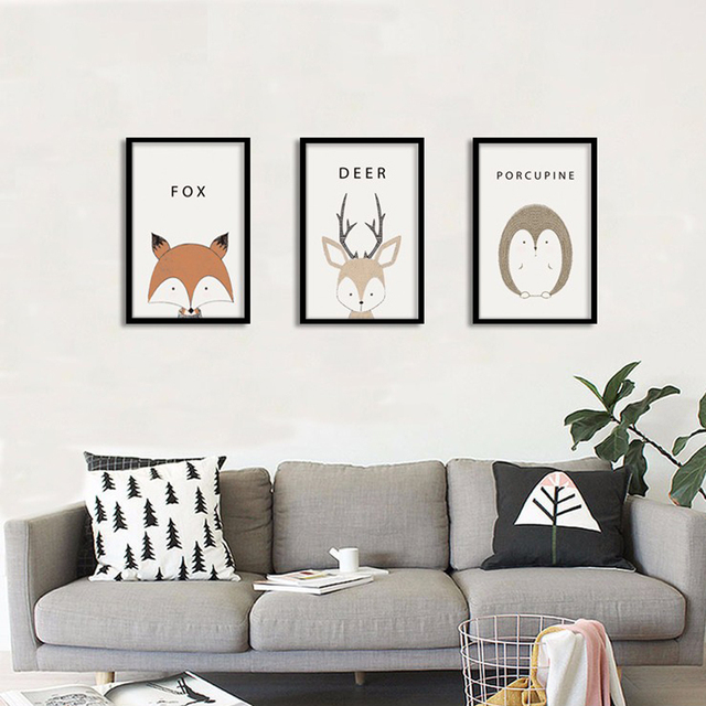 Wall Hangings For Living Room. Triptych Nordic Minimalist Modern Decorative Canvas Painting Art HD Print  Poster Animal Wall Paintings Living Room